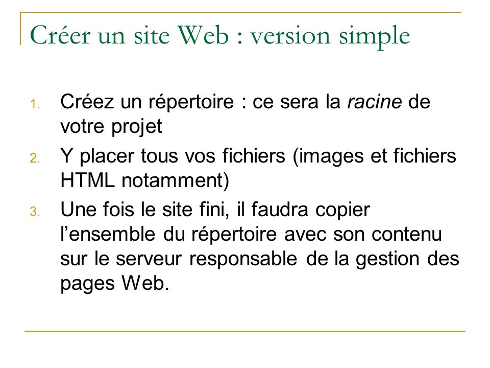 Créer un site Web : version simple