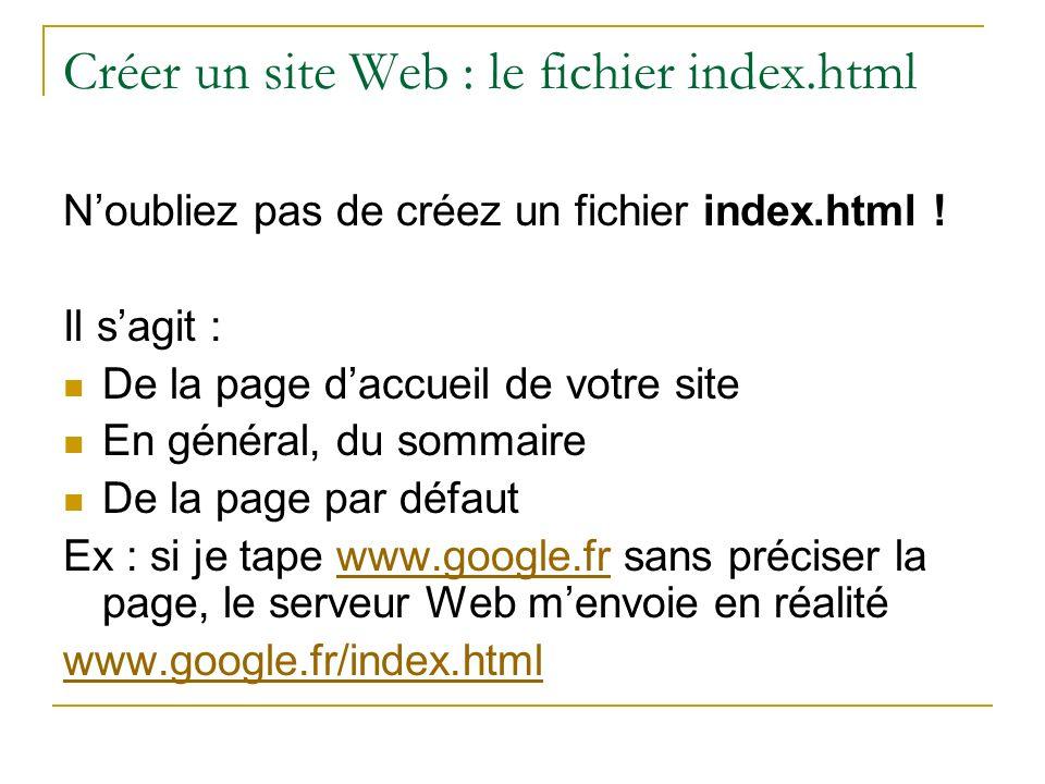 Créer un site Web : le fichier index.html