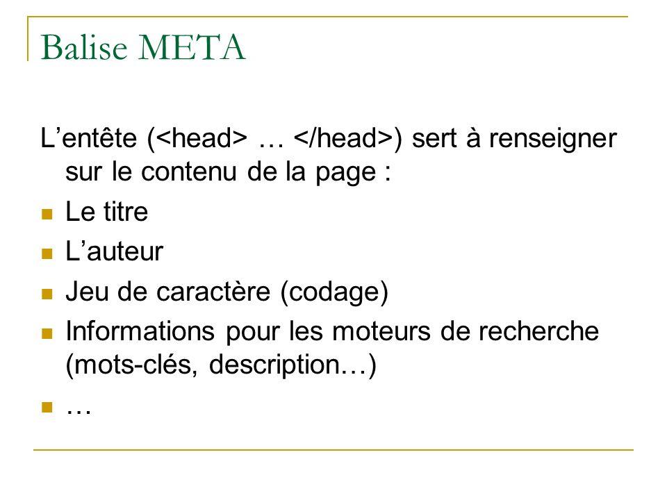 Balise META L'entête (<head> … </head>) sert à renseigner sur le contenu de la page : Le titre. L'auteur.