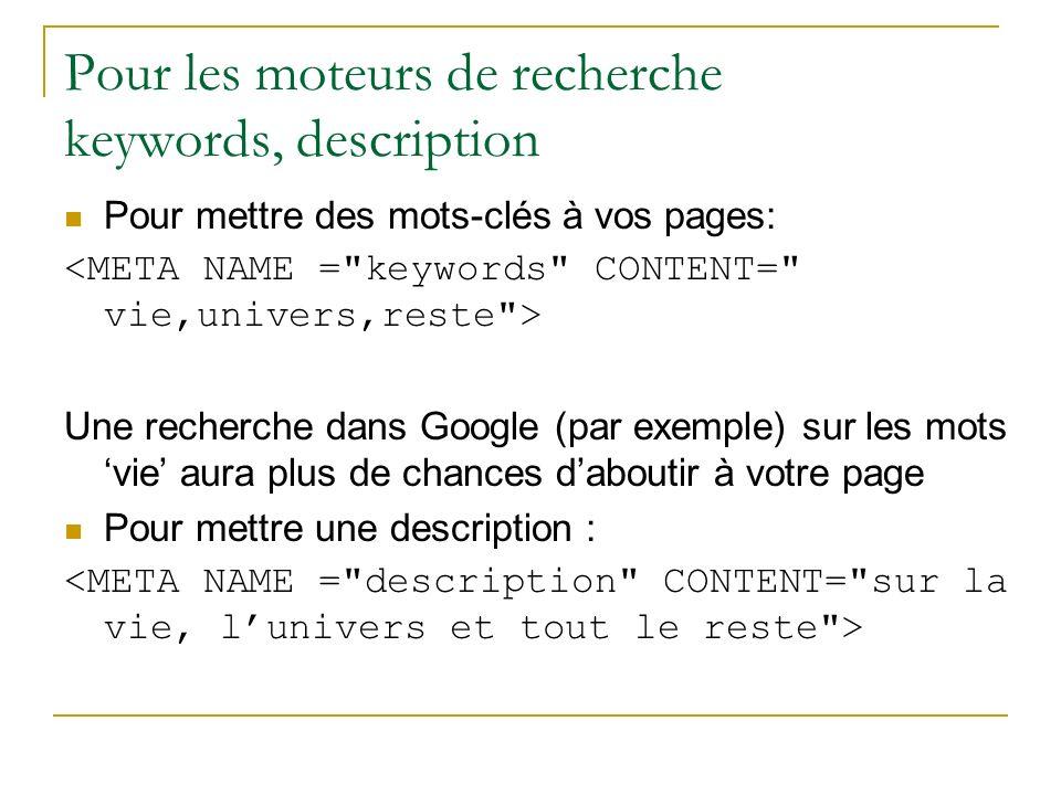 Pour les moteurs de recherche keywords, description