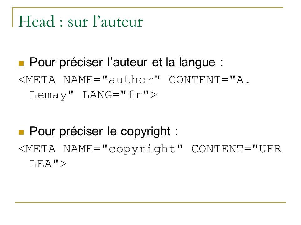 Head : sur l'auteur Pour préciser l'auteur et la langue :