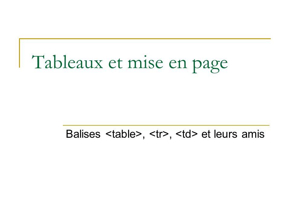 Tableaux et mise en page