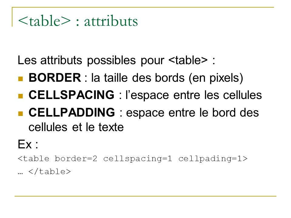 <table> : attributs