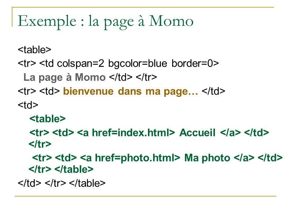 Exemple : la page à Momo <table>