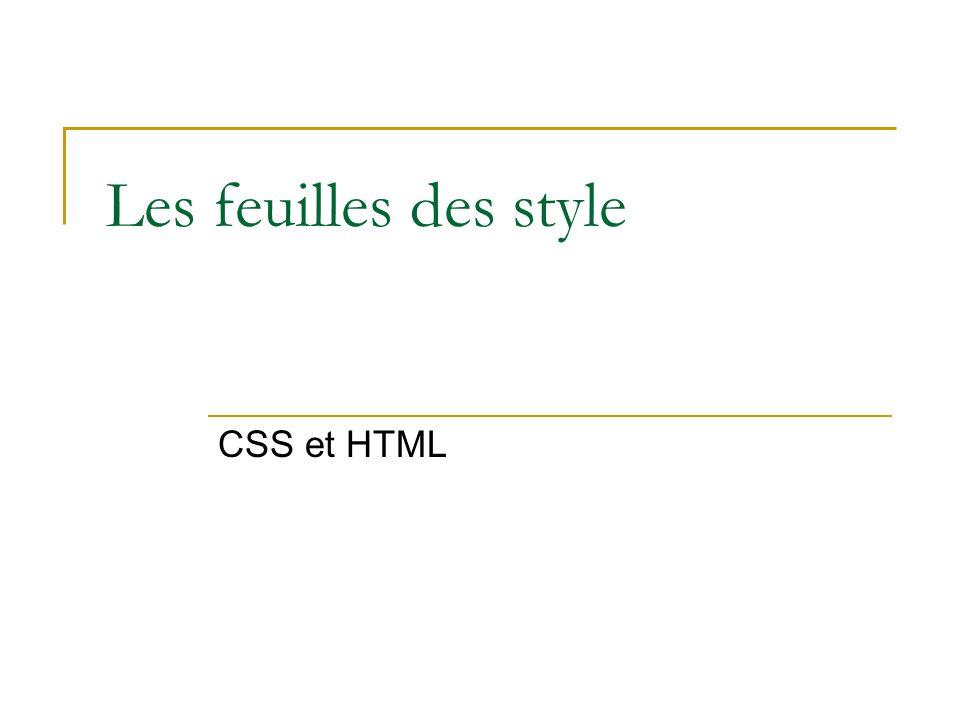Les feuilles des style CSS et HTML