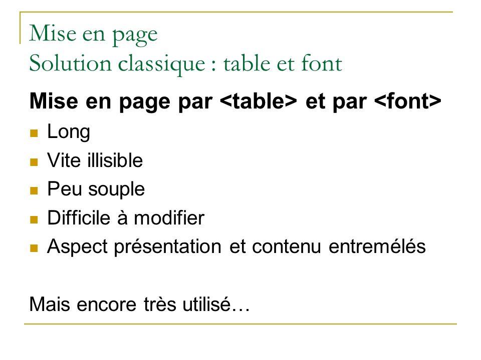 Mise en page Solution classique : table et font