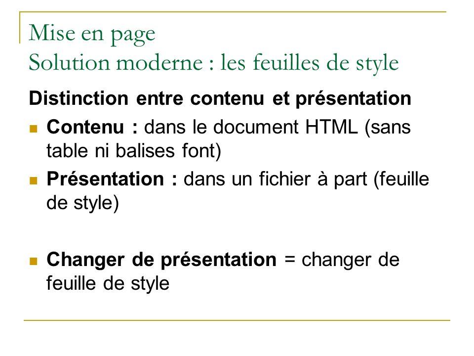 Mise en page Solution moderne : les feuilles de style
