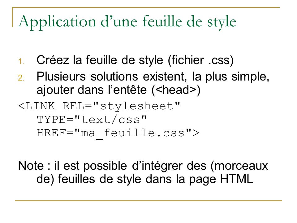Application d'une feuille de style