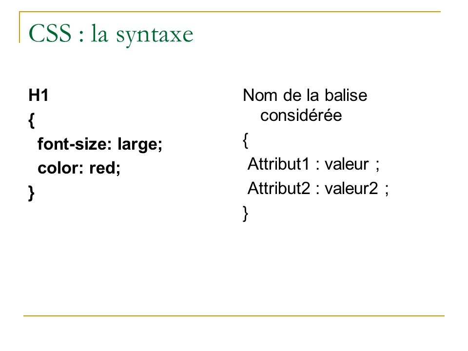 CSS : la syntaxe H1 { font-size: large; color: red; }