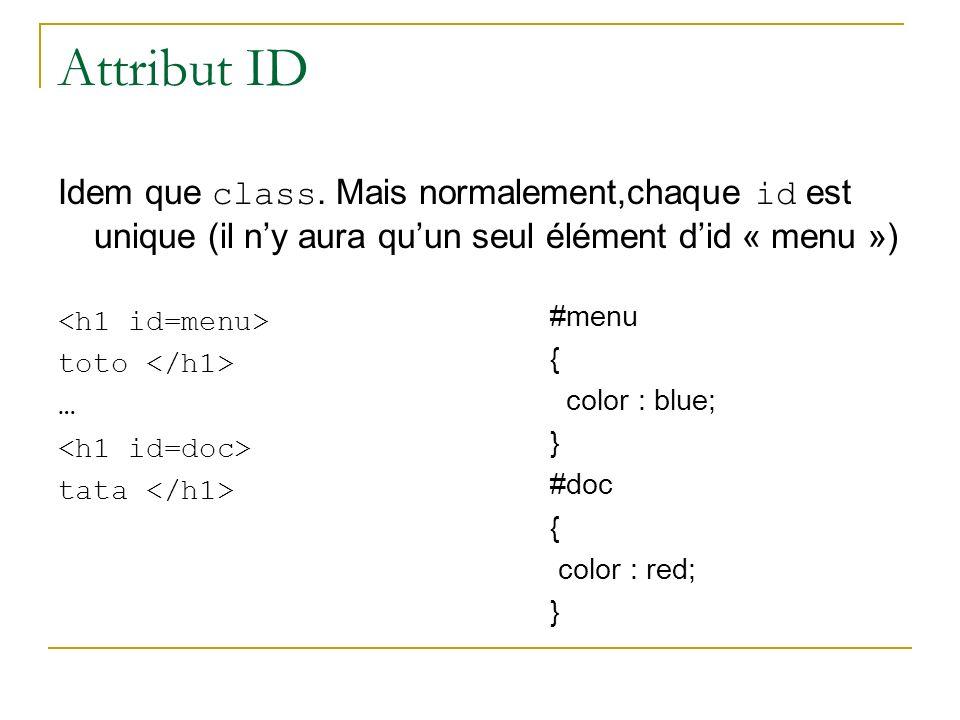 Attribut ID Idem que class. Mais normalement,chaque id est unique (il n'y aura qu'un seul élément d'id « menu »)