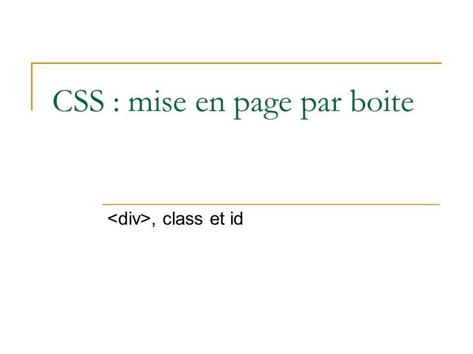 CSS : mise en page par boite
