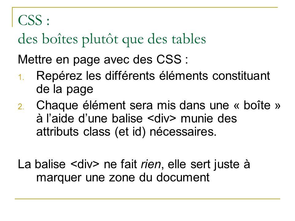 CSS : des boîtes plutôt que des tables