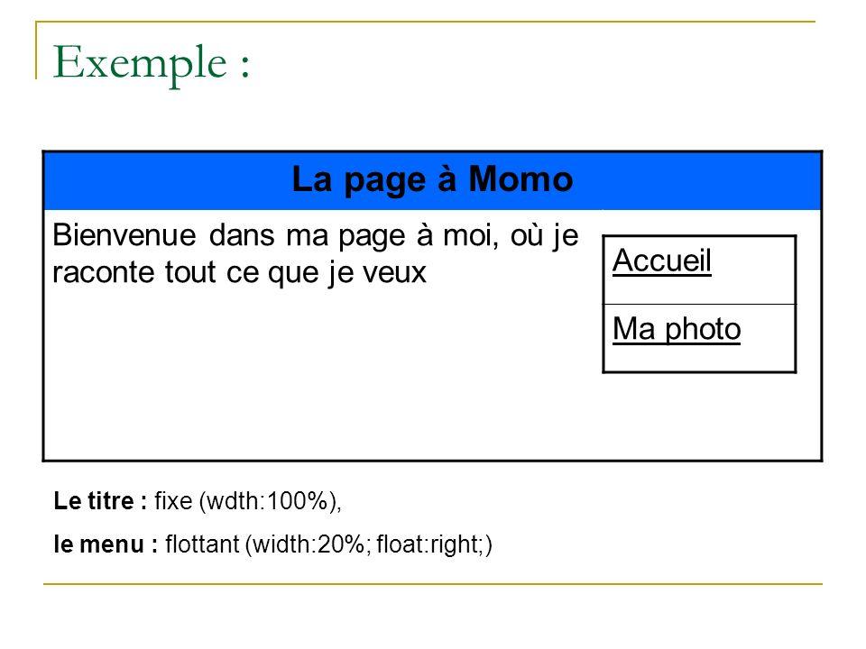 Exemple : La page à Momo. Bienvenue dans ma page à moi, où je raconte tout ce que je veux. Accueil.