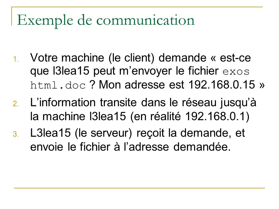 Exemple de communication