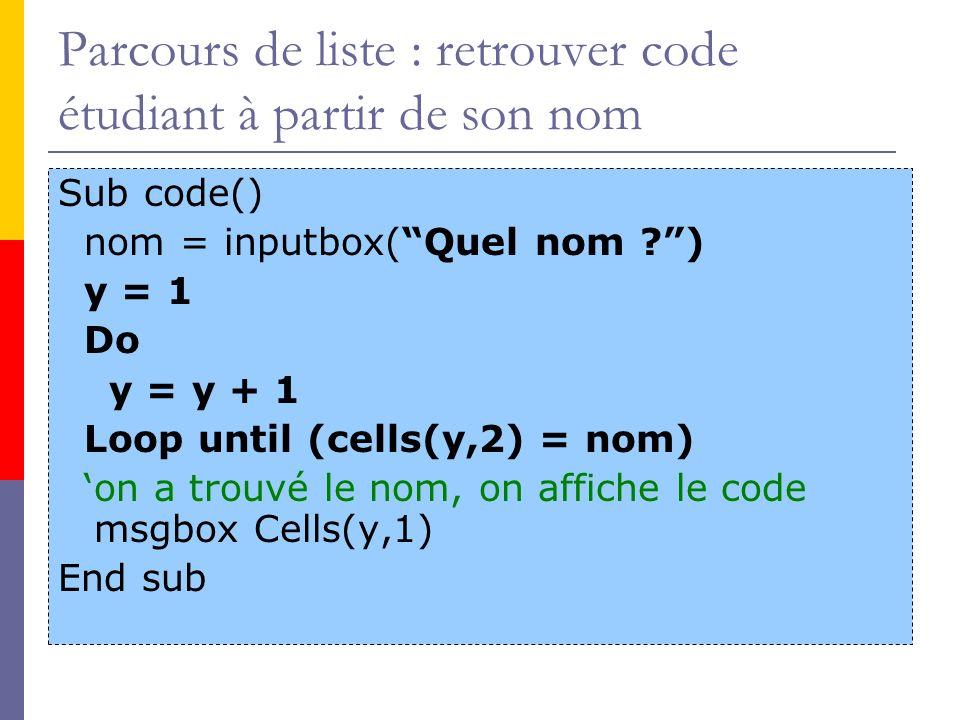 Parcours de liste : retrouver code étudiant à partir de son nom