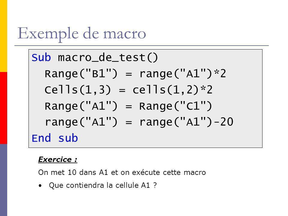 Exemple de macro Sub macro_de_test() Range( B1 ) = range( A1 )*2