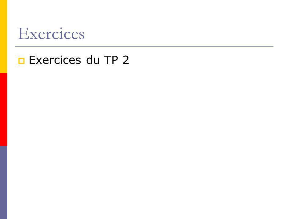 Exercices Exercices du TP 2