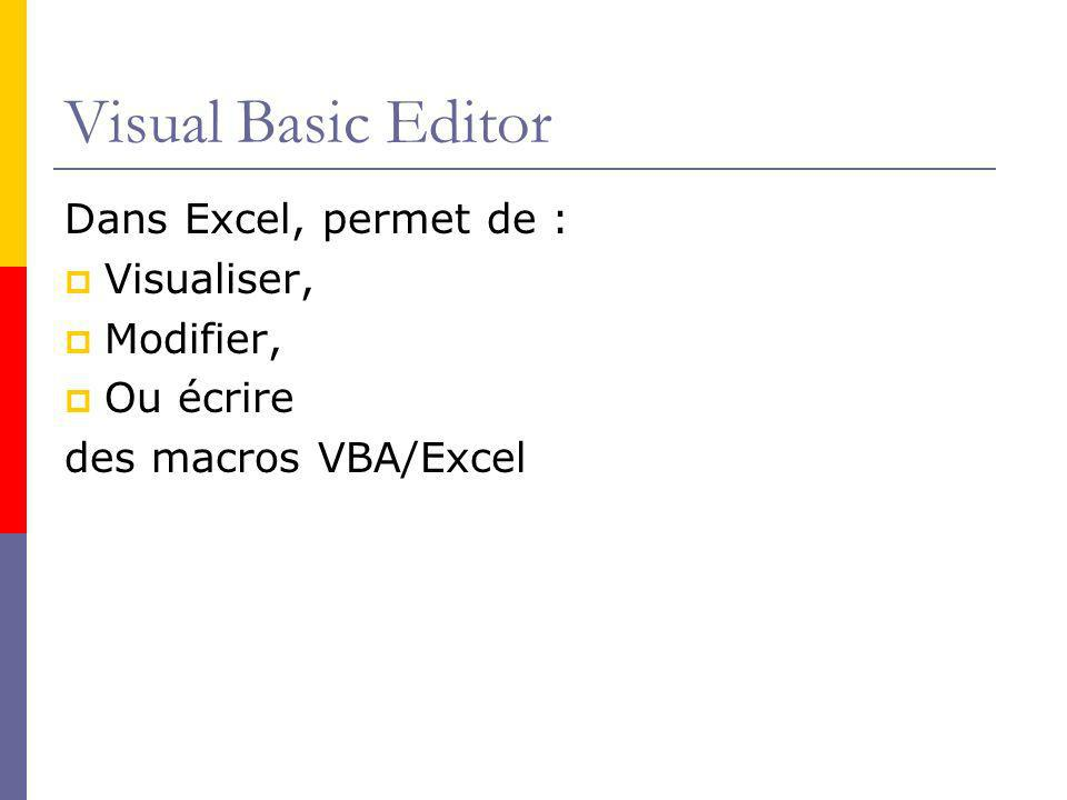 Visual Basic Editor Dans Excel, permet de : Visualiser, Modifier,