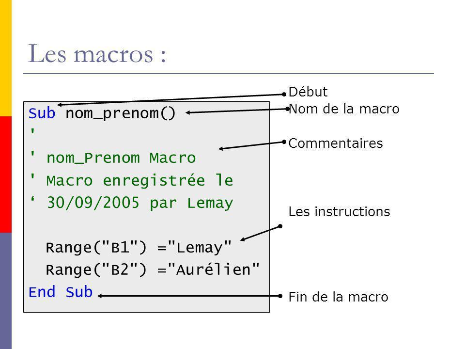 Les macros : Sub nom_prenom() nom_Prenom Macro