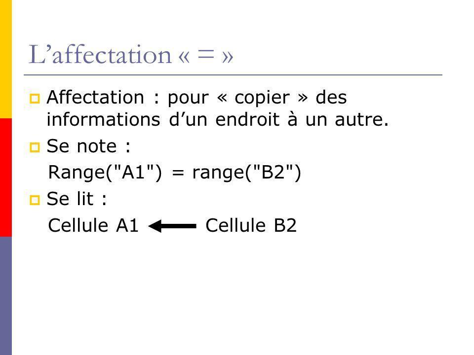L'affectation « = » Affectation : pour « copier » des informations d'un endroit à un autre. Se note :