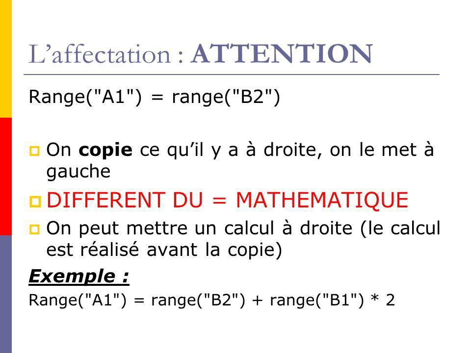 L'affectation : ATTENTION
