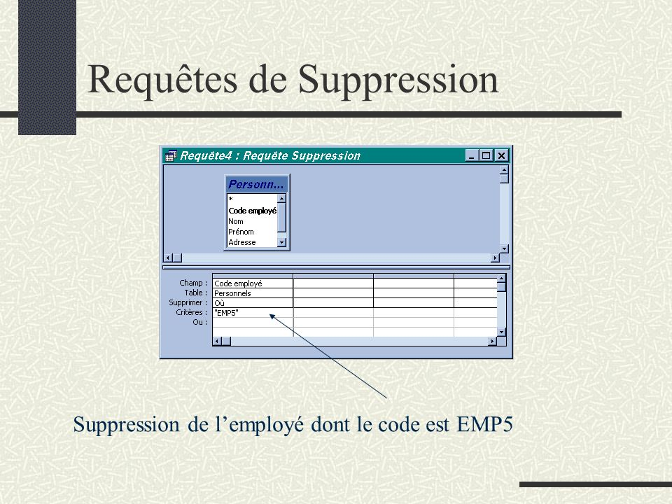Requêtes de Suppression
