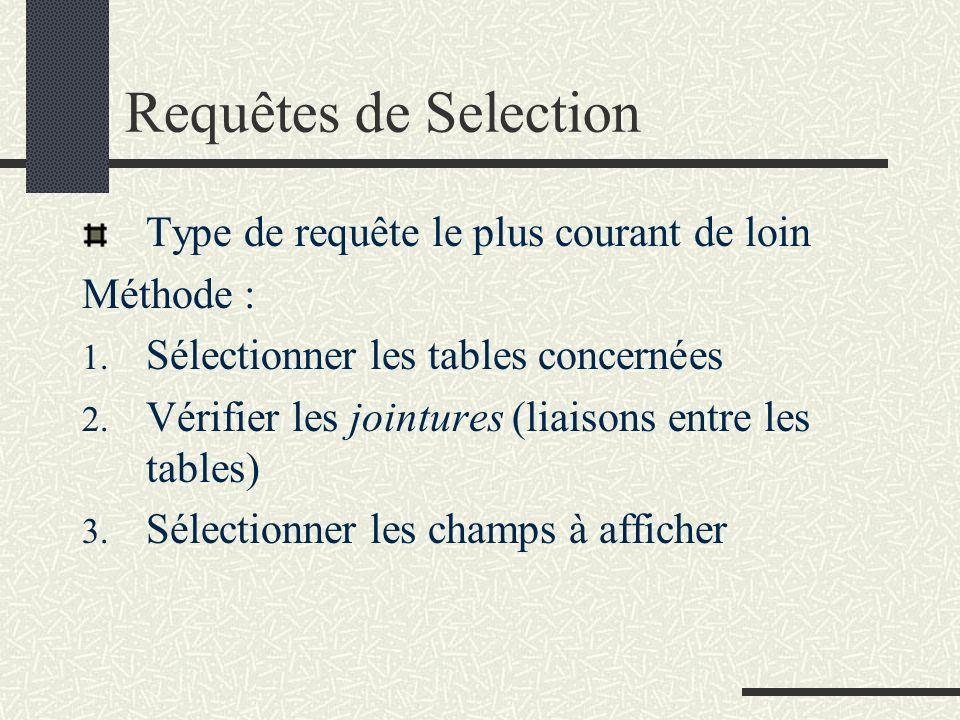 Requêtes de Selection Type de requête le plus courant de loin
