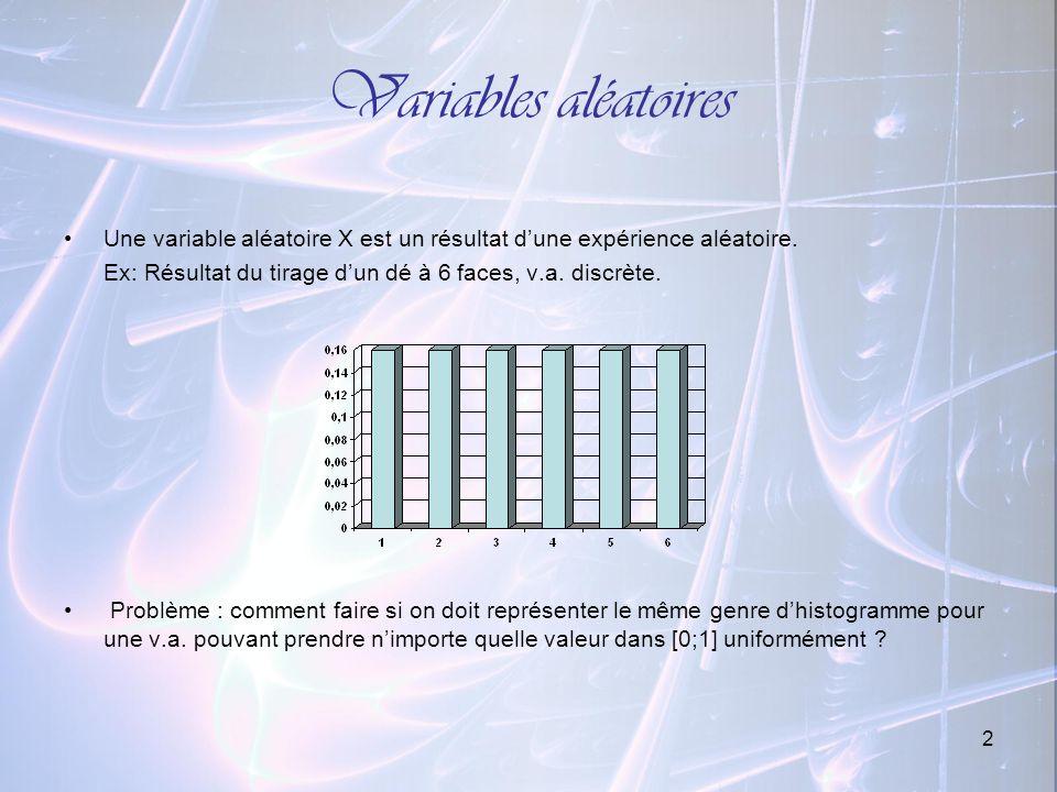 Variables aléatoires Une variable aléatoire X est un résultat d'une expérience aléatoire. Ex: Résultat du tirage d'un dé à 6 faces, v.a. discrète.