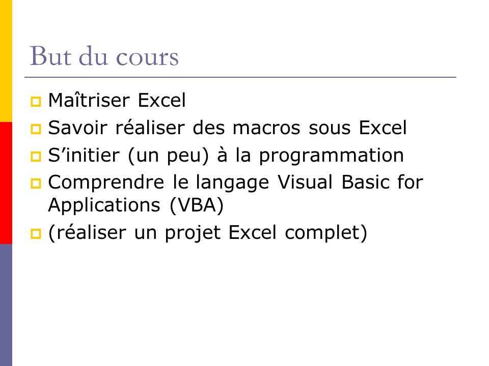But du cours Maîtriser Excel Savoir réaliser des macros sous Excel