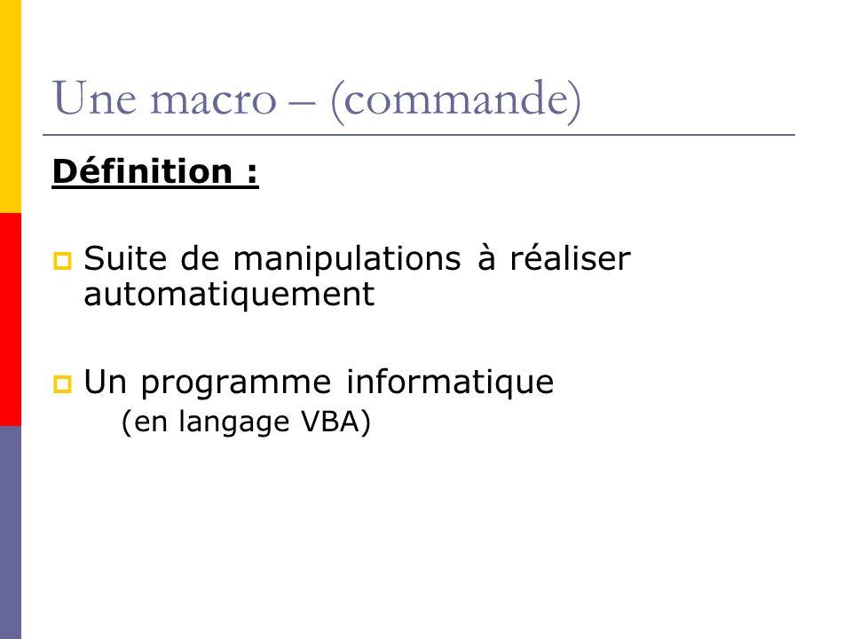 Une macro – (commande) Définition :
