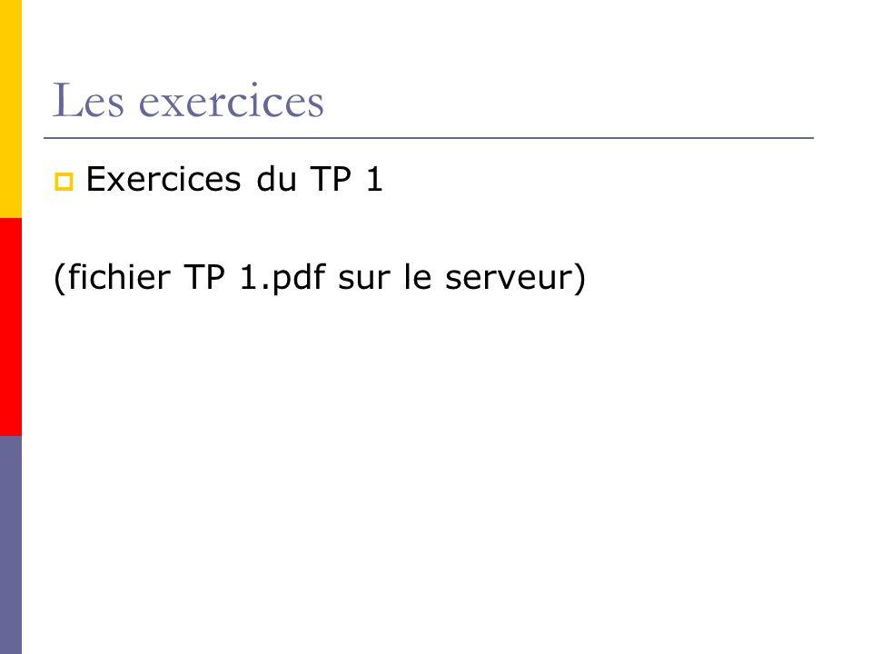 Les exercices Exercices du TP 1 (fichier TP 1.pdf sur le serveur)