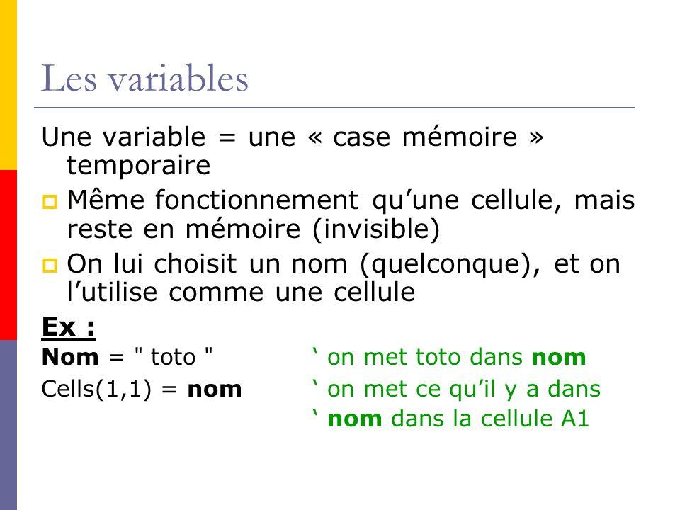 Les variables Une variable = une « case mémoire » temporaire