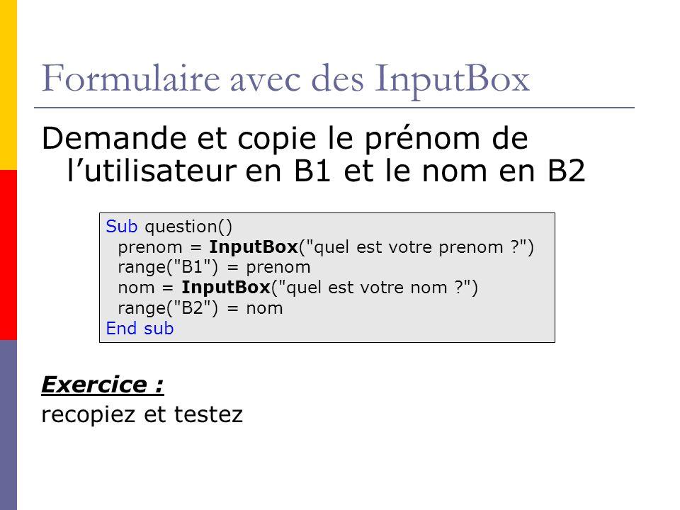 Formulaire avec des InputBox
