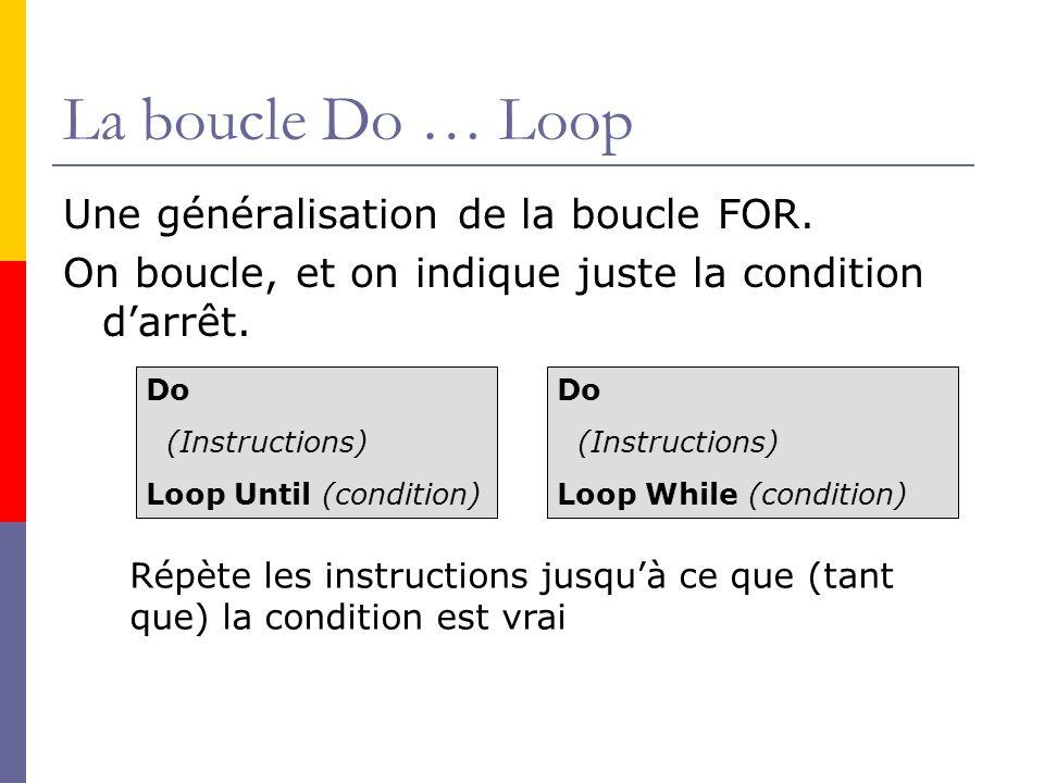 La boucle Do … Loop Une généralisation de la boucle FOR.
