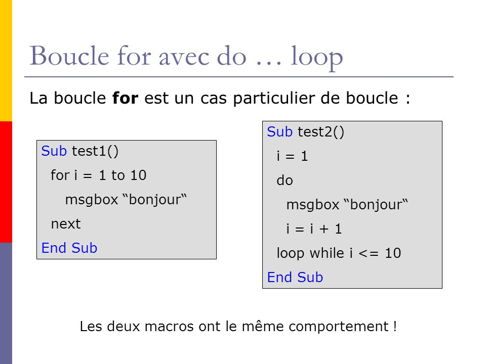 Boucle for avec do … loop