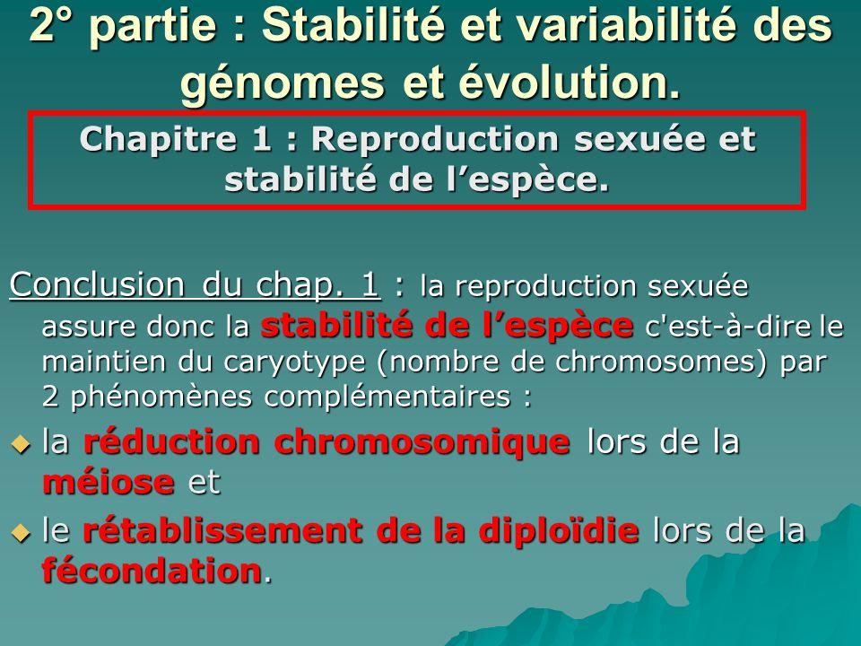 2° partie : Stabilité et variabilité des génomes et évolution.