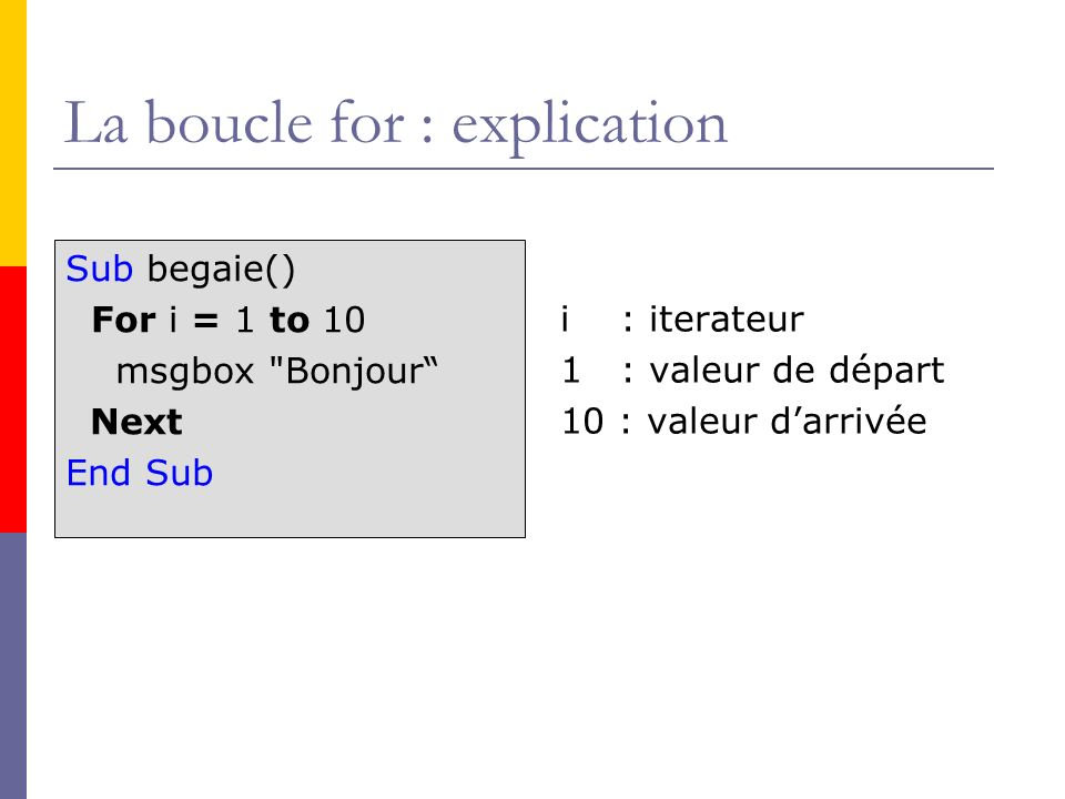 La boucle for : explication
