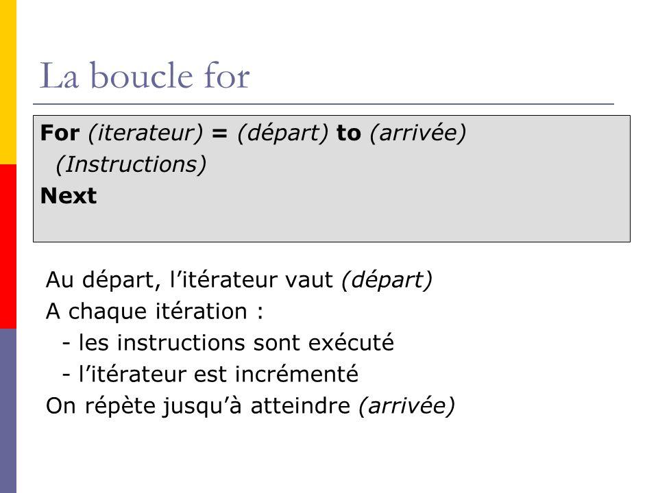La boucle for For (iterateur) = (départ) to (arrivée) (Instructions)
