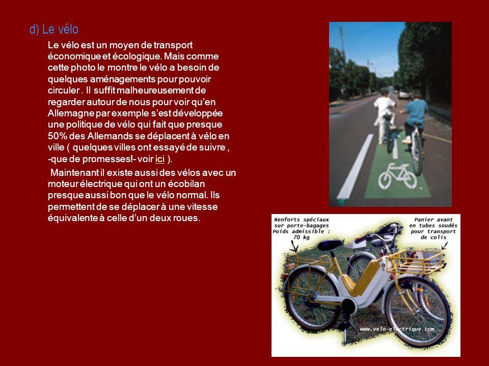 d) Le vélo