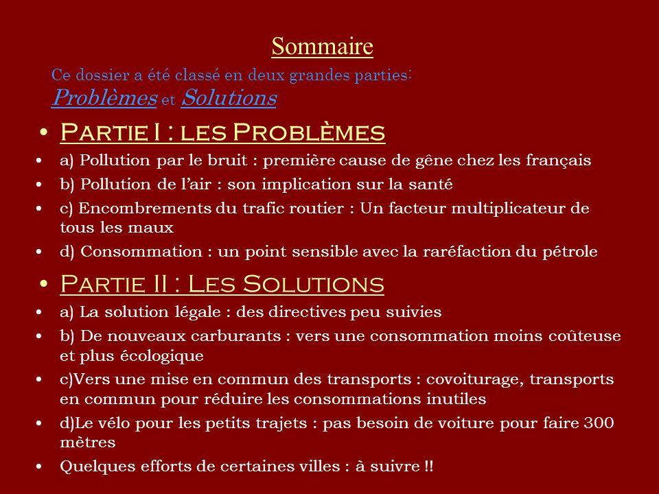 Partie I : les Problèmes