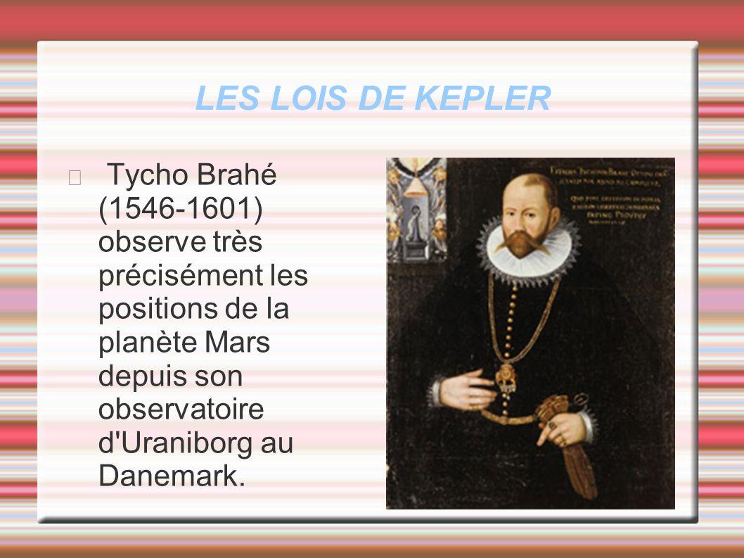 LES LOIS DE KEPLER Tycho Brahé (1546-1601) observe très précisément les positions de la planète Mars depuis son observatoire d Uraniborg au Danemark.