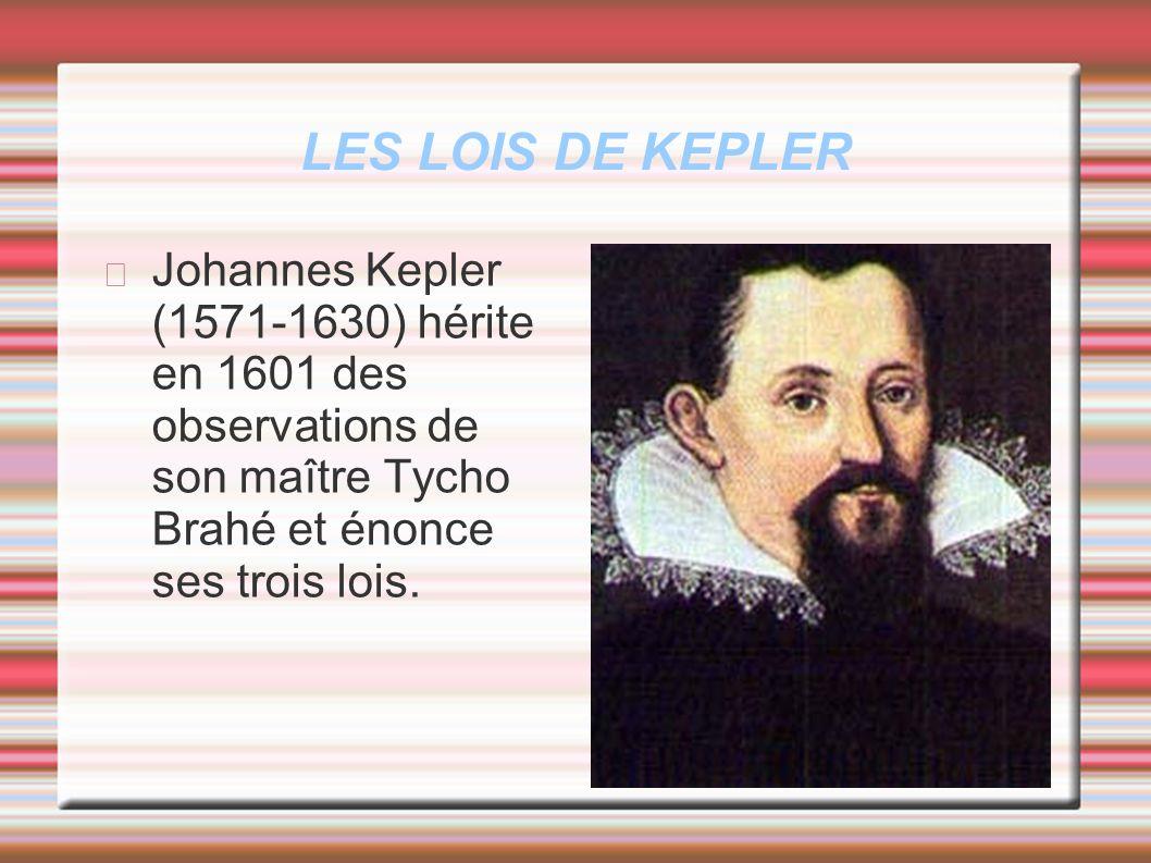 LES LOIS DE KEPLER Johannes Kepler (1571-1630) hérite en 1601 des observations de son maître Tycho Brahé et énonce ses trois lois.