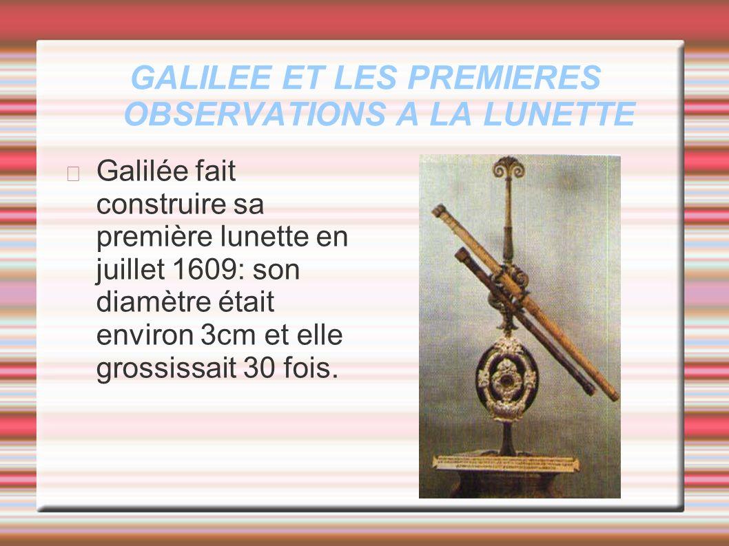 GALILEE ET LES PREMIERES OBSERVATIONS A LA LUNETTE
