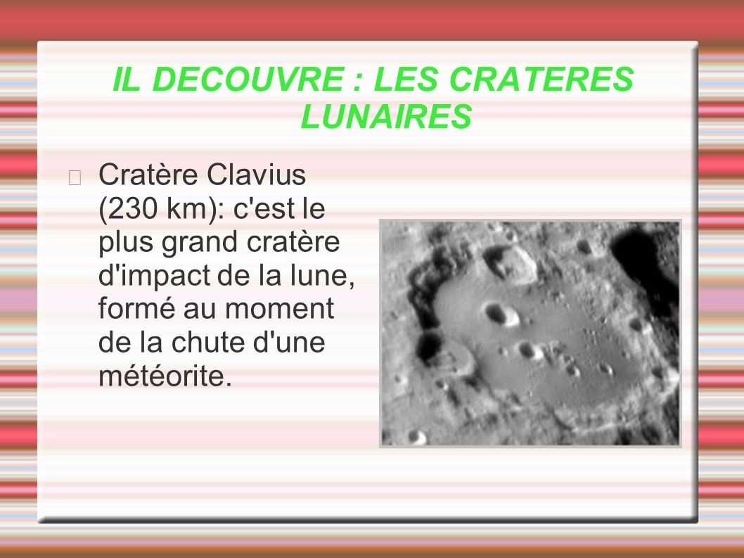 IL DECOUVRE : LES CRATERES LUNAIRES