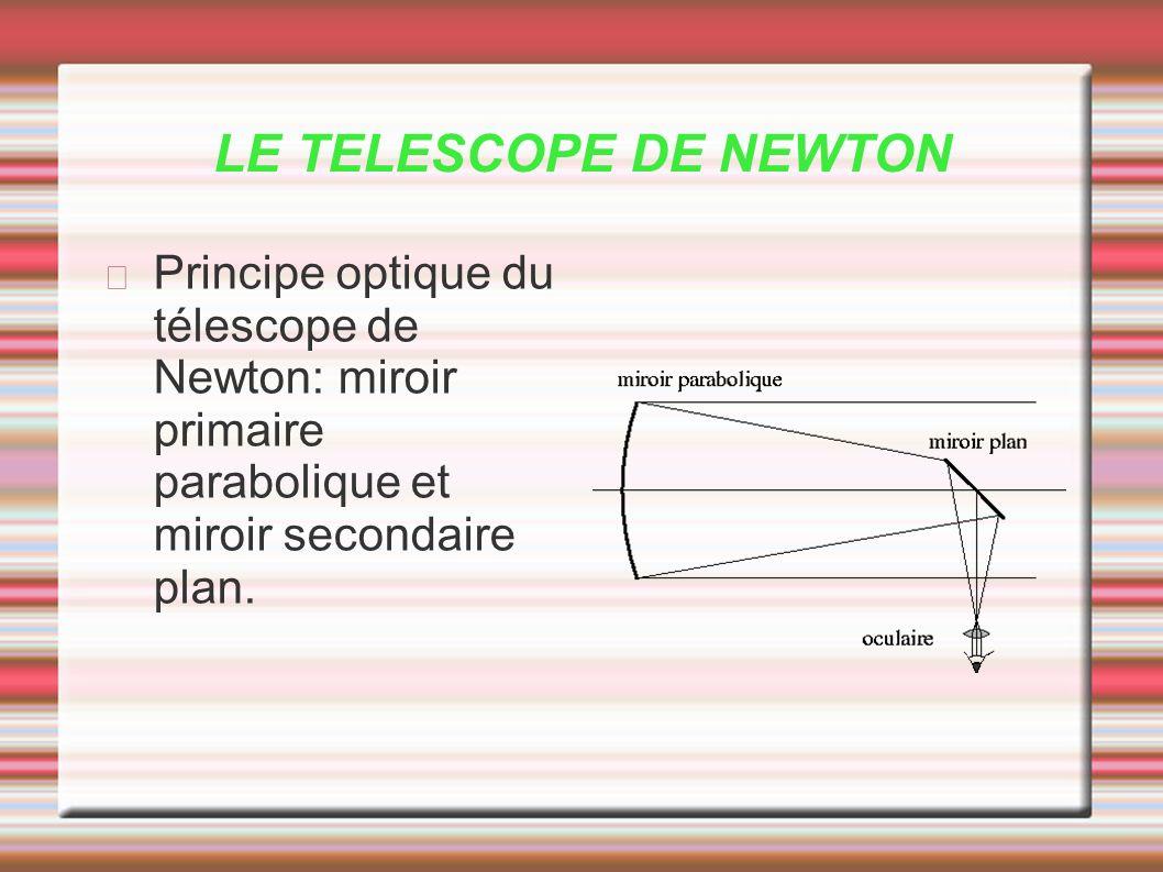 LE TELESCOPE DE NEWTON Principe optique du télescope de Newton: miroir primaire parabolique et miroir secondaire plan.