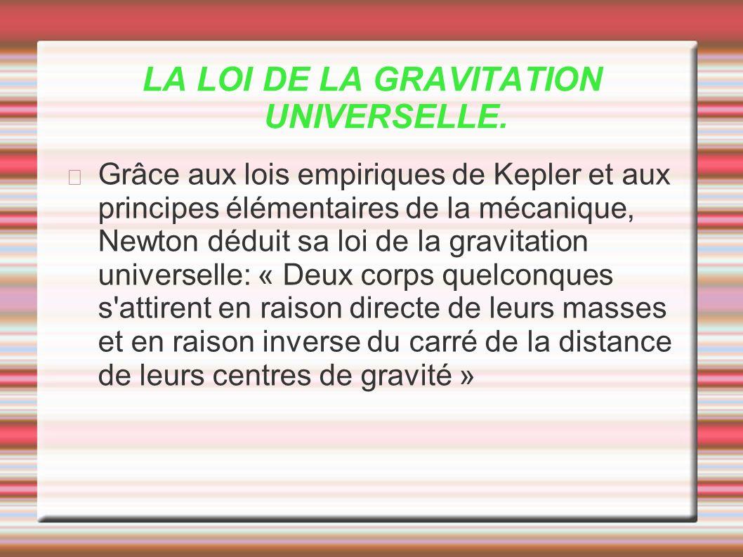 LA LOI DE LA GRAVITATION UNIVERSELLE.