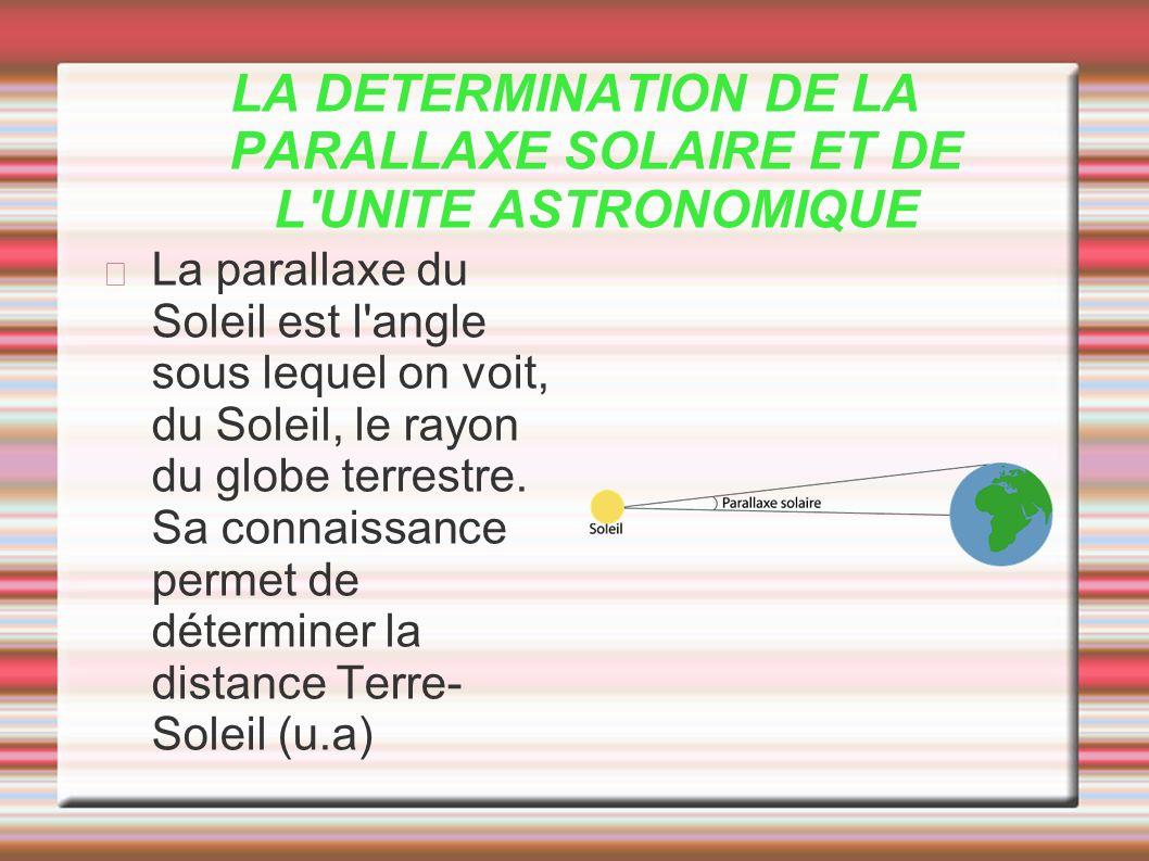 LA DETERMINATION DE LA PARALLAXE SOLAIRE ET DE L UNITE ASTRONOMIQUE