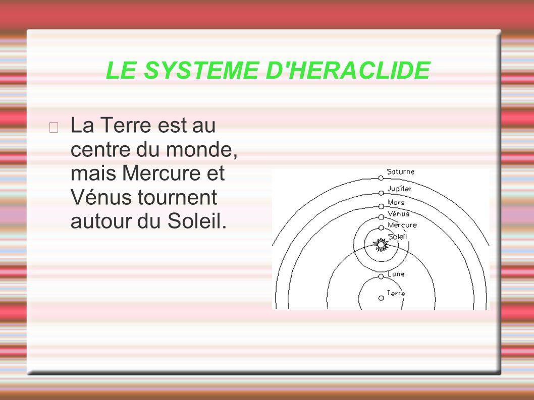 LE SYSTEME D HERACLIDE La Terre est au centre du monde, mais Mercure et Vénus tournent autour du Soleil.