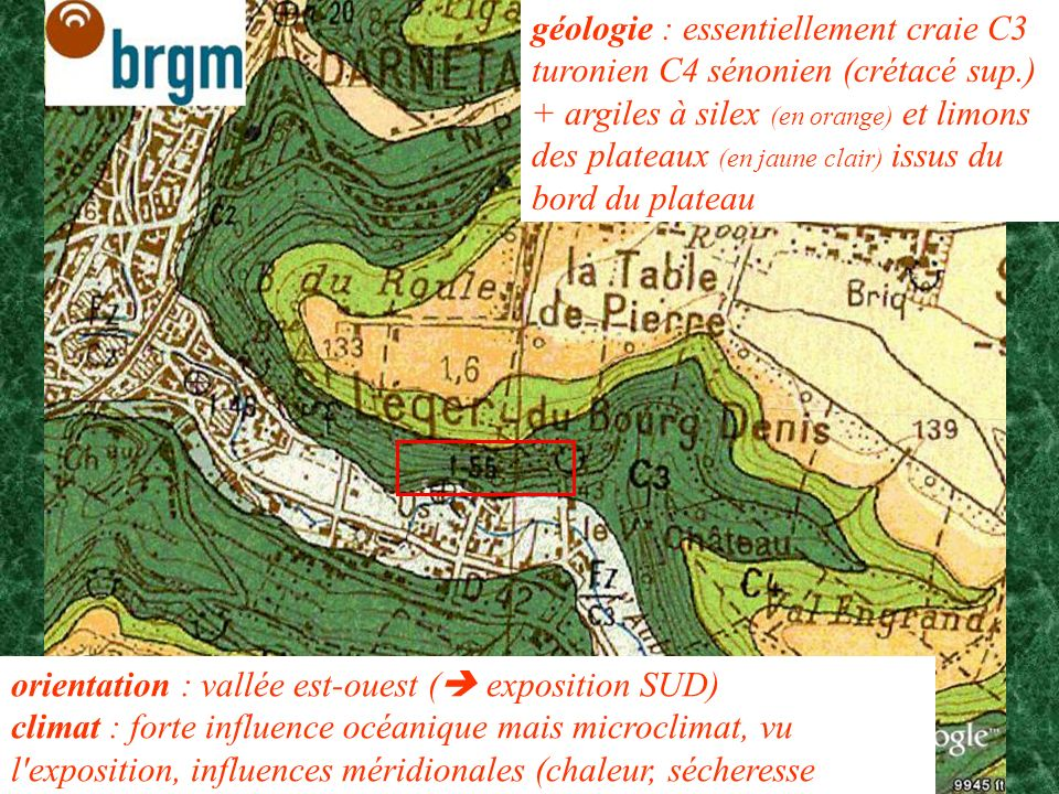 géologie : essentiellement craie C3 turonien C4 sénonien (crétacé sup