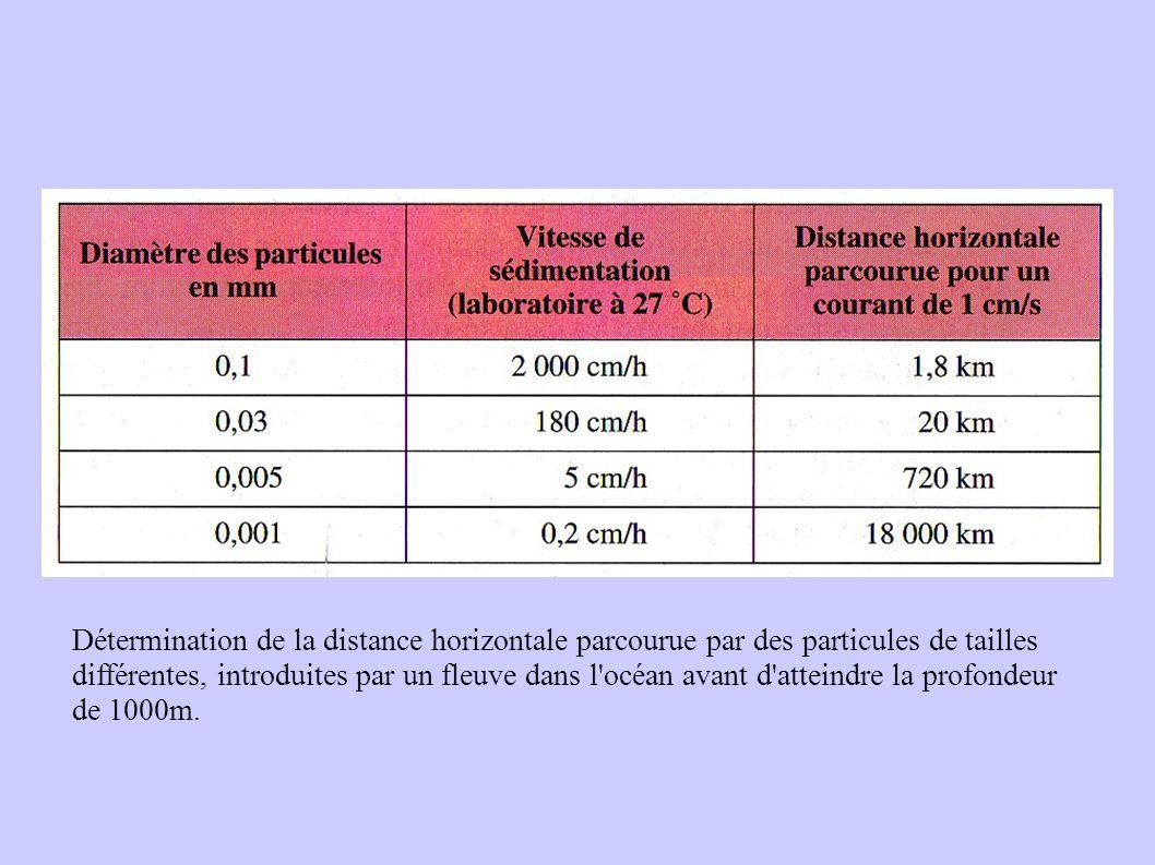 Détermination de la distance horizontale parcourue par des particules de tailles différentes, introduites par un fleuve dans l océan avant d atteindre la profondeur de 1000m.